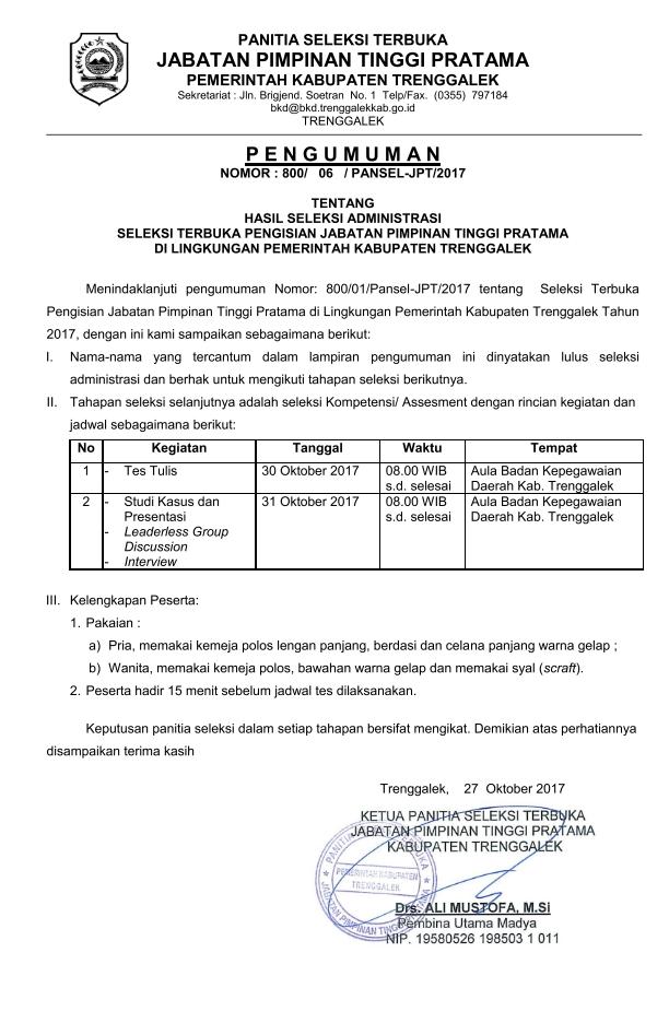 Hasil Seleksi Administrasi JPT Pratama-1